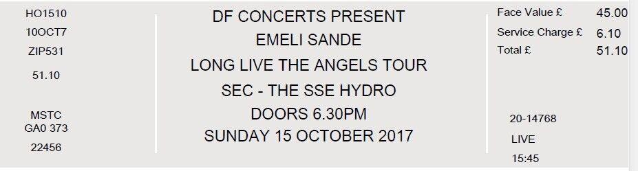 2 x Standing Emeli Sande Tickets @ SSE Hydro, Glasgow Sunday 15th Oct