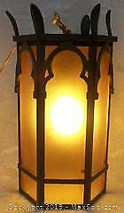 Antique Gothic Church Amber Glass Hanging/Wall Mount Light