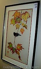 Signed Chinese Water Color Painting Original Frame Bird and Leafs
