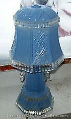 ART DECO BLUE GLASS TABLE LAMP 1930-40s WORKS