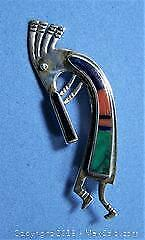 Southwest Zuni Sterling Lapis Turquoise Coral Signed Vintage Kokopelli Brooch - A