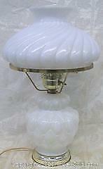 Vintage 3 Position Milk Glass Hurricane Table Lamp