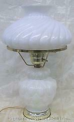 Vintage 3 Position Milk Glass Hurricane Table Lamp