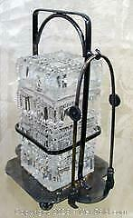 VICTORIAN ENGLISH CUT CRYSTAL LIDDED PICKLE CASTOR CRUET STAND w/ HAND TONGS