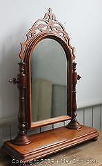 Antique Victorian 19th Century Freestanding Walnut Ladies Dressing Table/Vanity Mirror on Stand