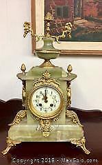 Antique Green Onyx Mantle Clock