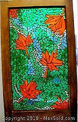 Antique Oak Framed Mosaic Stained Glass Window