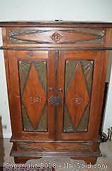 Vintage Wooden Armoire Cabinet With Hidden Compartments
