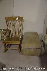 Wooden Rocker With Ottoman C