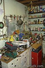 Wall of Tools and Hardware, Cabinets & Shelves Included -A
