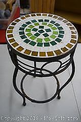 Wrought Iron & Mosaic Bistro Table -A
