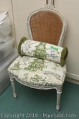 Cane Back Chair With Matching Decor Pillow Roll B