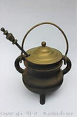 Antique Iron Brazier Pot with Brass Lid and Pestle