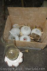 Oil lamp, hobnail style lampshades, telegraph insulators. -A
