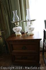 Night Table and Pair Of Lamps. C