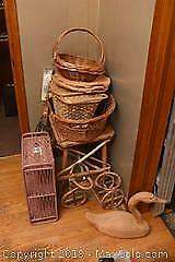 Rustic Table, Wicker Baskets, Easel And More B