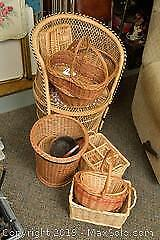 Wicker Chair And Baskets. A