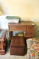 Sewing Machine And Table, Notions And Ottoman. B
