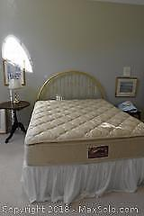 Queen Headboard, Box Spring And Frame. C