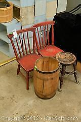 Chairs and Nail Barrel. A