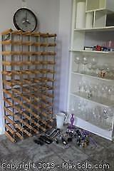 Bar Glasses, Wine Rack And Clock. B