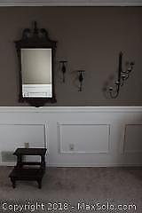 Mirror, Bombay Prayer Stool and Candle sconces. A