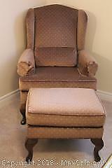 Wingback Chair And Ottoman. B