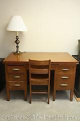 Oak Chair and Desk And Lamp B