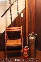 Coat Rack, Chair And Extinguishers. A