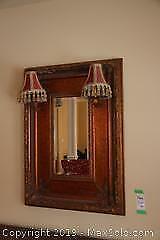 Antique Mirror With Retrofitted Lighting B