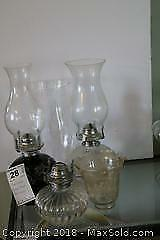 Oil Lamps And Shades. A