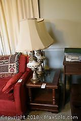 End Table And Pair Of Lamps. B