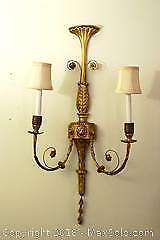 Pair of Guild Wood Wall Sconces