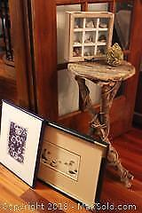 Wooden Stool And Prints. A