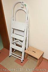 2 Metal Stepladders and Wooden Step Stool A