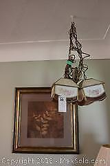 Framed Print And Pair Of Swag Lamps. B