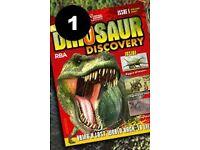 Dinosaur discovery magazines + skeleton joblot