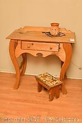 Pine Table, Stool And Stool. C