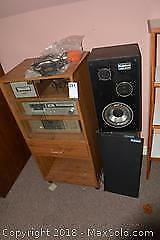 Stereo System, Speakers And Cabinet. B