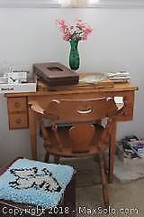 Sewing Machine, Chair And Ottoman. B