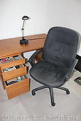 Office Chair, Floor Mat, Desk Light, Books and Other Office Supplies