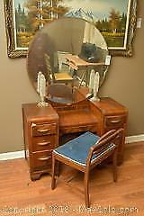 Vanity, Lamps And Chair. C