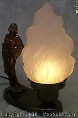 Antique Deco Siren Lady Lamp with Flame Shade