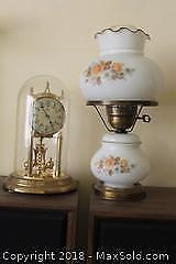 Electric Lamp And Clock. A