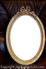 Antique Wood Guilt Oval Mirror