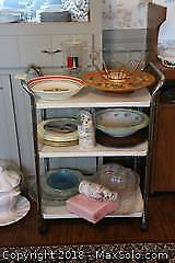 Metal Cart and Kitchenware. A