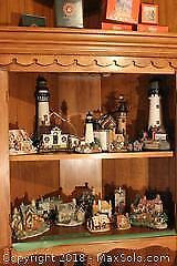 Ceramic Lighthouse And House Figures A