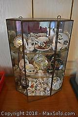 Display Cabinet And Miniature Cups. A