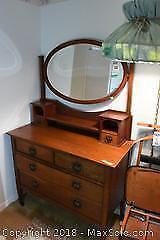 Vintage Wooden Mirrored Dresser E