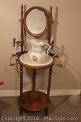 Antique Wash Stand with Mirror and Pitcher